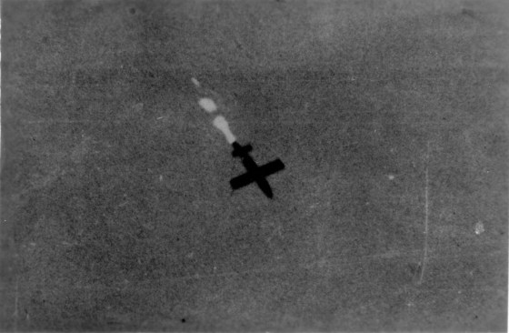 Rain of Terror -- A German V-1 rocket seconds before impact. (Image source: WikiCommons)