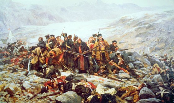 The 44th Regiment makes its last stand at Gandamak, as painted by William Barnes Wollen. Britain's first Afghan war began in 1839. (Image source: WikiCommons)