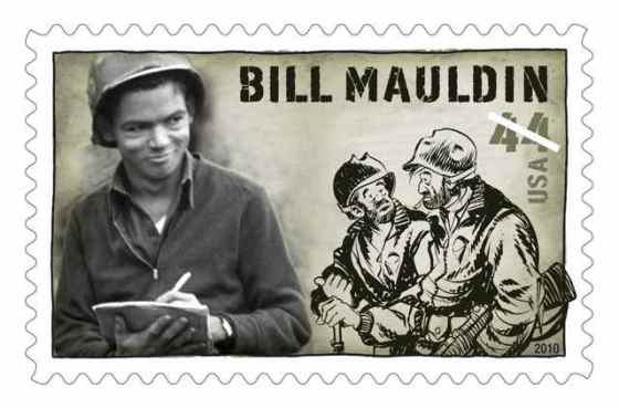 A 2010 U.S. postage stamp featuring Bill Mauldin and Willie and Joe. (Image Source: U.S. Postal Service)