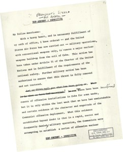 The first page of 'the speech'. (Image source: JFK Presidential Library and Museum)