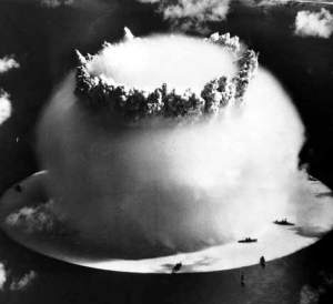 Ninety five ships were subjected to a pair of nuclear tests at Bikini Atoll in 1946. Among them was Nazi Germany's Prinz Eugen. (Image source: WikiCommons)