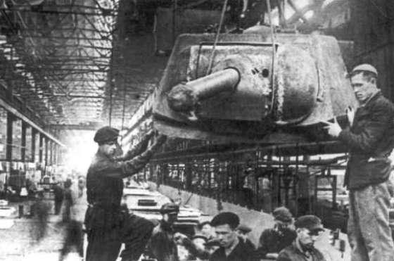 A Soviet T-34 assembly line.