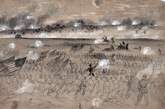Federal troops storm the Confederate heights beyond the city of Fredericksburg, seen through the eyes of war artist Alfred Waud.