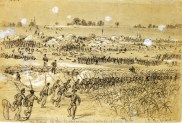 Union soldiers charge into action during the Battle of the Crater, Petersburg, Virginia. July 30, 1864.