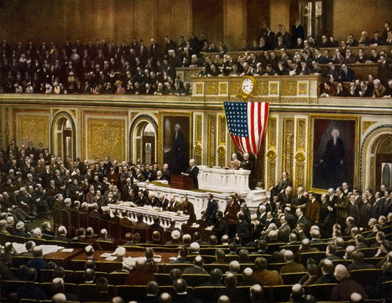 A colourized image of the U.S. Congress declaring war on the German Empire on April 6, 1917. (Image source WikiCommons)