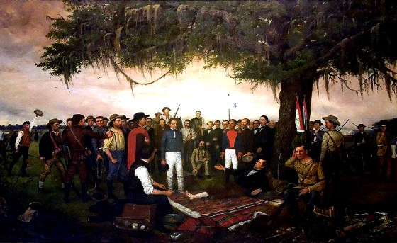 """The Surrender of Santa Anna"" by William Henry Huddle. (Image source: WikiCommons)"