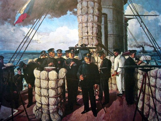"Admiral Togo on the bridge of his flagship Mikasa: ""Let every man do his utmost duty.""(Image source: WikiCommons)"