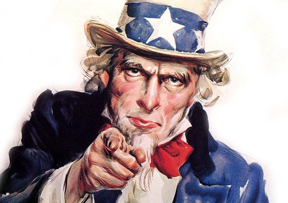 "More than two million Americans signed up to fight in France during the First World War. Many may have been inspired by James M. Flagg's iconic Uncle Sam ""I Want YOU"" poster. (Image source: WikiCommons)"