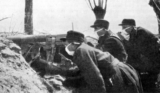 Belgian troops with make-shift gas masks. (Image source: WikiCommons)