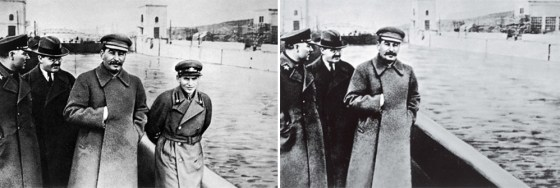 State police official Nikolai Yezhov, seen here right of Stalin, was himself purged in 1938. Like something out of Orwell's 1984, the photo on the right was later doctored to remove all traces of Yezhov. (Image source: WikiCommons)