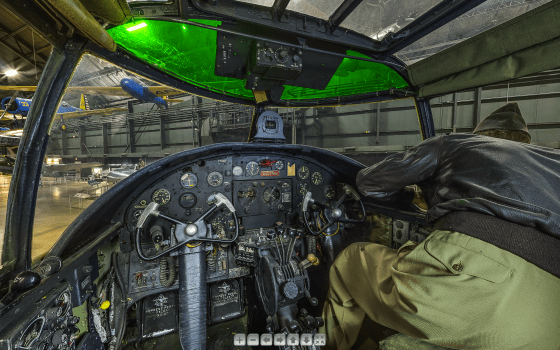 The cockpit of this World War Two-era North American B-25 Mitchell is just one of more than 30 warplanes that are up for a virtual 360-deg. tour. (Image source: NMUSAF)