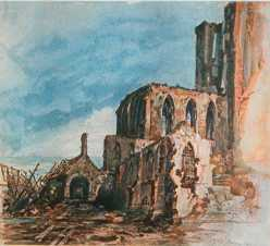 A bombed out cathedral as seen by Hitler during World War One. (Image source: Public Domain)