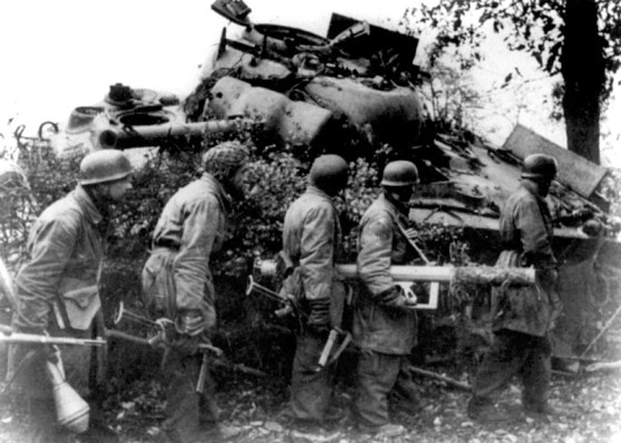 Panzerschreck crews exacted a heavy toll on Allied tank columns in Normandy's rugged bocage country. (Image source: German Federal Archives)