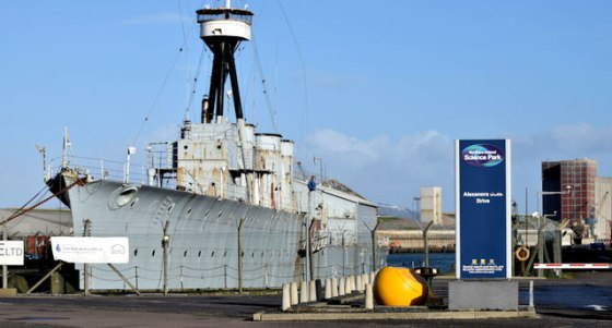 HMS Caroline, the last surviving vessel from the Battle of Jutland, sits on shore in Belfast. (Image source: WikiCommons)