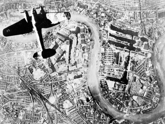 A Heinkel He 111 bomber flying over London's East End, 1940. Seventy-five years ago this week, German bombers were raining destruction down on the city. (Image source: WikiCommons)