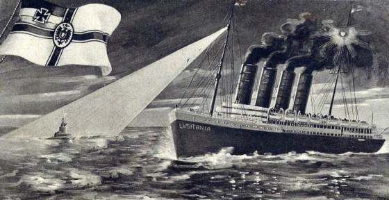 A German postcard celebrates the destruction of the Lusitania. No amount of patriotic bravado could hide the fact that the destruction of the passenger liner was a public relations disaster for Berlin. (Image source: WikiCommons)