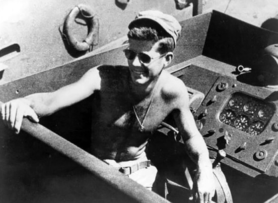 John F. Kennedy aboard the PT-109 in the South Pacific, 1943.(Image Source: John F. Kennedy Presidential Library and Museum, Boston.)