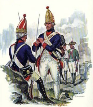 Hessian grenadiers as they would have appeared in the American Revolutionary War.