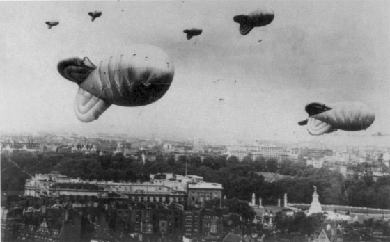 Barrage balloons were a fixture in the skies above London during the Blitz. (Image source: WikiCommons)