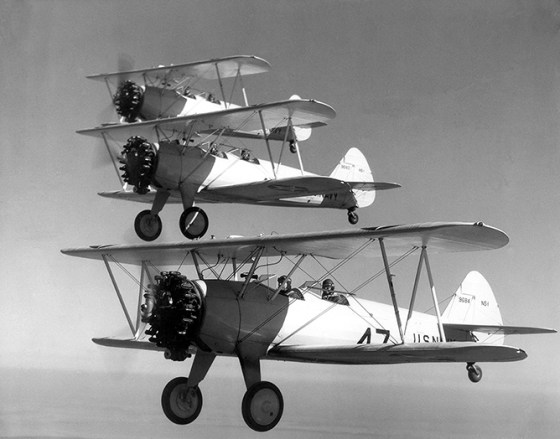 British pilots in the U.S. trained on the same aircraft American fliers did, like the ubiquitous Boeing Stearman. (Image source: WikiCommons)