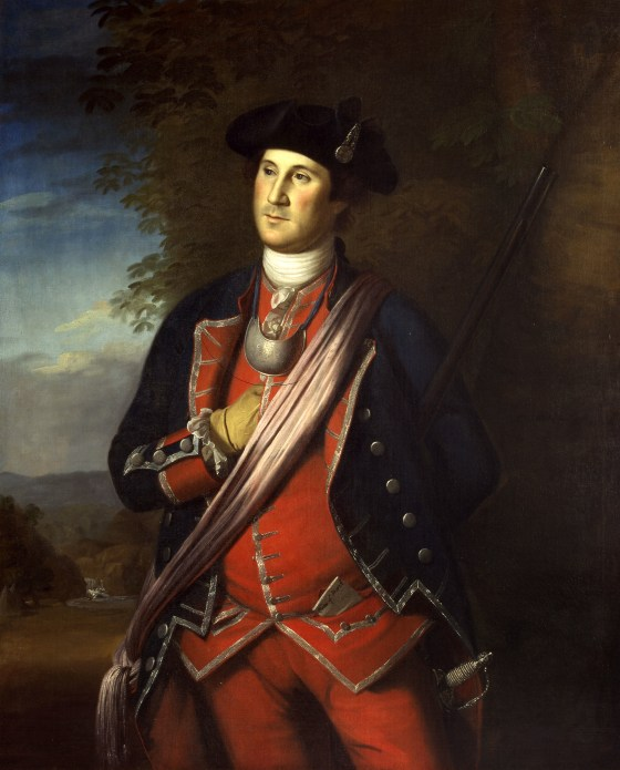 George Washington, seen here as a young officer in His Majesty's provincial militia. (Image source: WikiCommons)