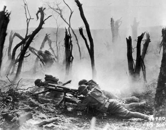 U.S. soldiers in the Argonne Forest. Many of the troops killed in the battle were never recovered. They remain among the thousands of American MIAs from WW1. (Image Source: US Army Signal Corps)
