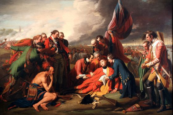 Wolfe dies on the Plains of Abraham, 1759. While the Battle for Quebec is remembered as the quintessential British victory, it was just as much a triumph of American arms. (Image source: WikiCommons)