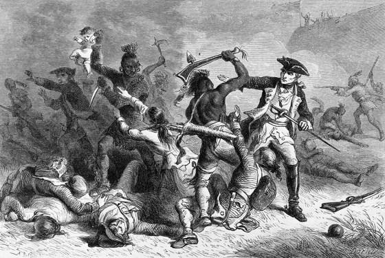 The Maquis de Montcalm leaps to the defence of British parolees after the fall of Fort William Henry. The French general was aghast that his native allies massacred the enemy soldiers and settlers. (Image source: WikiCommons)