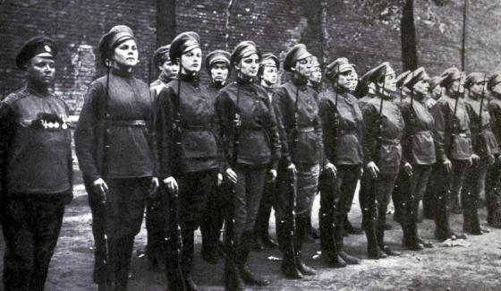 Soldiers of the 1st Russian Women's Battalion of Death. (Image source: WikiCommons)