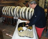 Nick Jellicoe, grandson of the famous admiral, delivering the dress uniform of Sir John Rushworth Jellicoe to the NMRN exhibition April 2016, Portsmouth Historic Dockyard, (Image courtesy of the NMRN)