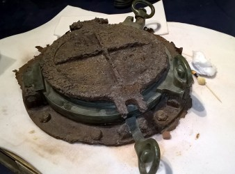 A salvaged hatch from HMS Hampshire. The warship survived the battle, only to strike a mine en route to Russia five days later. One of her doomed passengers was Lord Kitchener. (Image Source: Scott Addington)