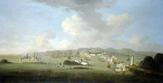 Louisbourg in English hands. Despite what the painting depicts, Warren ordered his ships and shore batteries to fly French colours, so as to surprise unsuspecting enemy supply ships. (Image source: WikiCommons)