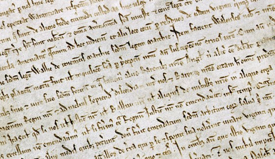 One of four surviving copies of the 1215 Magna Carta. (Image source: WikiCommons)
