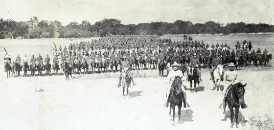 The Rough Riders drilling in Tampa. Despite being a mounted unit, the regiment would leave its horses in Florida. (Image source: Harvard College Library)