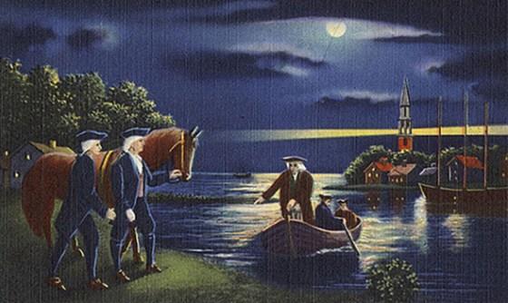 Paul Revere slips silently across the Charles River. (Image source: WikiCommons)