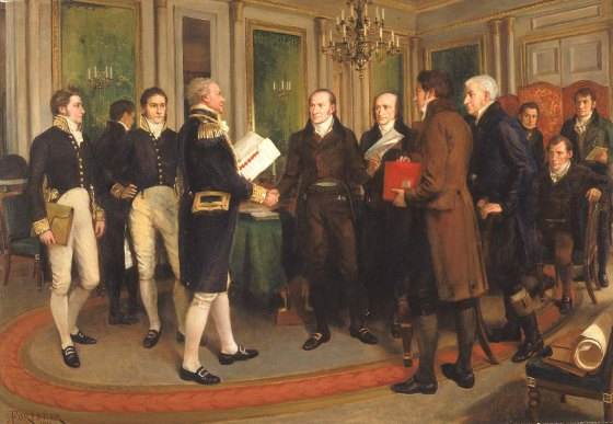 British and American delegates at Ghent reach a peace deal. (Image source: WikiCommons)