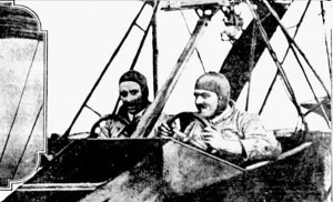 William Thaw at the controls of his flying boat stunt plane, 1913 (Image source: David Hanna)