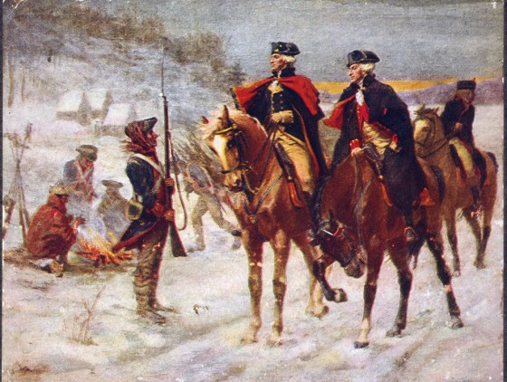 Washington's army at Valley Forge suffered just about every hardship imaginable: hunger, disease, exposure to the elements. Ot of 12,000 that went into winter quarters in Pennsylvania in late 1777, more than 2,000 would not live to see the spring. (Image source: WikiCommons)
