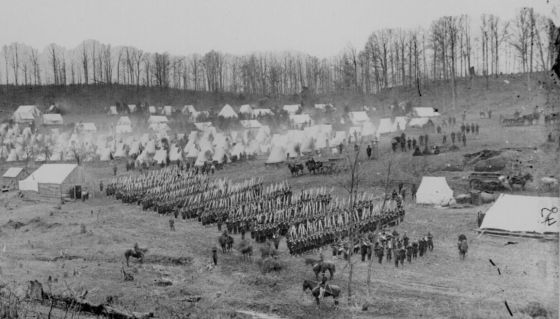 A typical Civil War encampment. A staggering 400,000 soldiers died in the four year conflict from illnesses. That's twice as many as were felled in battle. (Image source: WikiCommons)