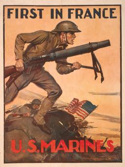 A 1918 recruiting poster highlights the USMC's contribution to the war effort. (Image source: WikiCommons)