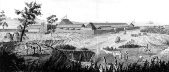 The far-flung Spanish outpost at Monterey, California as it looked in 1818. (Image source: WikiCommons)