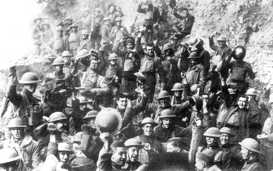 U.S. troops cheer the Armistice on Nov. 11, 1918. For thousands of Marines, the final hours of the war would be as deadly as any. (Image source: WikiCommons)