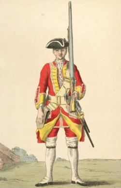A soldier of the British 8th Regiment of Foot. (Image source: WikiCommons)