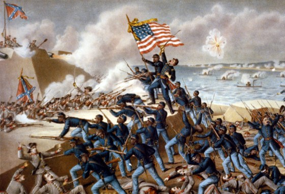 A lithograph of the 54th Massachusetts at the Battle of Fort Wagner. (Image source: WikiCommons)
