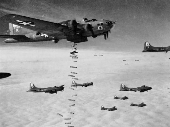 Allied bombers pounded Nazi factories. Many of the unintended casualties in the raids were forced labourers. (Image source: WikiCommons)