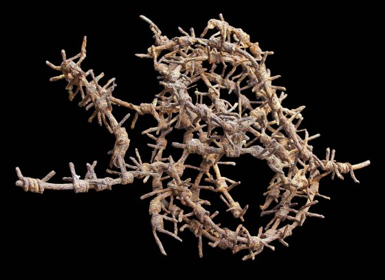 A segment of barbed wire recovered from the Western Front. (Image source: Peter Doyle)
