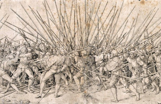 Landsknechts fought in a phalanx formation that bristled with pikes. They called it a igel or 'hedgehog.' (Image source: WikiCommons)