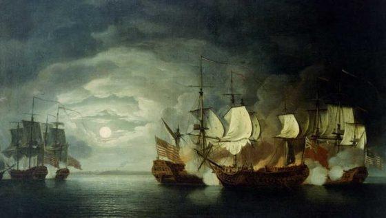 John Paul Jones's ship Bonhomme Richard takes on HMS Serapis, 23 September 1779. (Image source: WikiCommons)