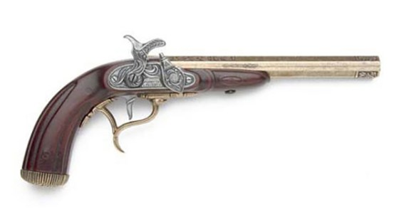 A late 18th Century English duelling pistol. (Image source: WikiCommons)