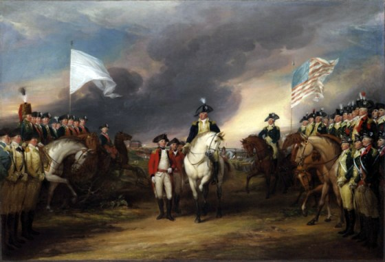 The British surrender to an American and French army at Yorktown. While the fighting in the 13 Colonies would soon be over, Britain would continue to battle France and Spain for two more years. (Image source: WikiCommons)